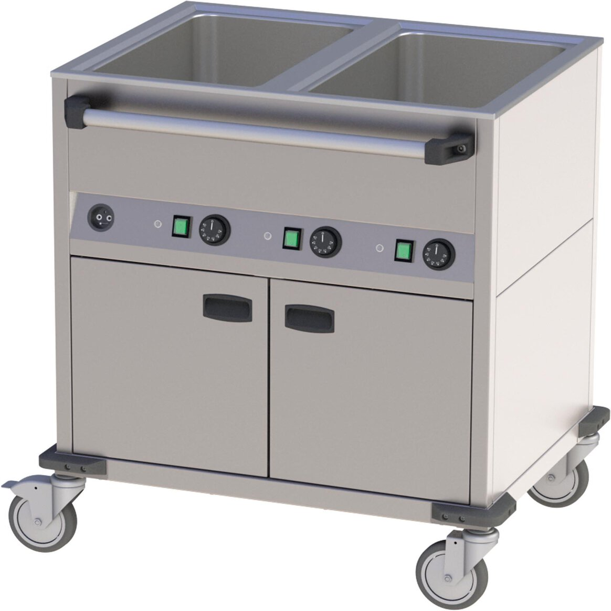Fahrbares Wasserbad mit Wärmeschrank 2 Becken (1)